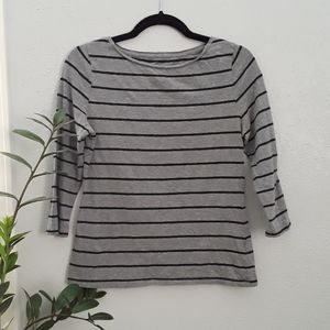 3 For $15 Boatneck Striped 3/4 Sleeve Top